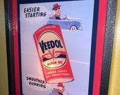 Veedol Easy Starting Oil Gas Service Station Garage Retro Advertising Man Cave Lighted Sign