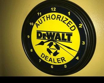 DEWALT SERVICE WALL CLOCK VINTAGE RETRO GARAGE WORKSHOP TIN METAL SIGN CLOCK