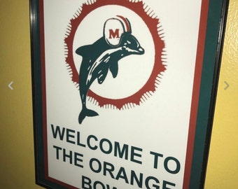 Miami Dolphins Throwback Football Stadium Bar Advertising Man Cave Framed  Print Sign ae3f6cff8