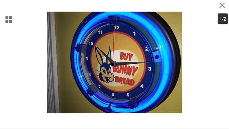 Bunny Bread Baker Kitchen Diner Blue Neon Wall Clock Sign