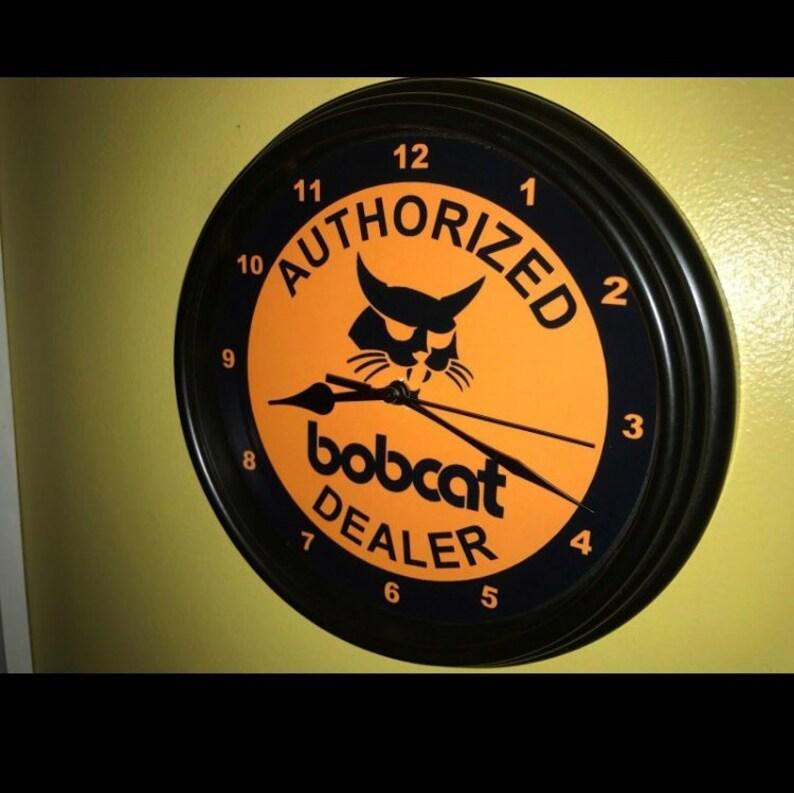 Bobcat Skidsteer Tractor Auth  Dealer Farm Garage Retro Man Cave  Advertising Wall Clock Sign