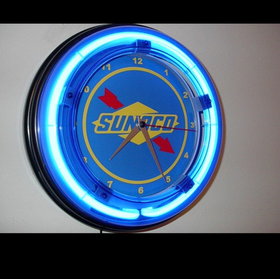 """Retro 17/"""" Blue Neon Mobil Gas Oil Service Station Sign Man Cave Wall Clock NEW"""