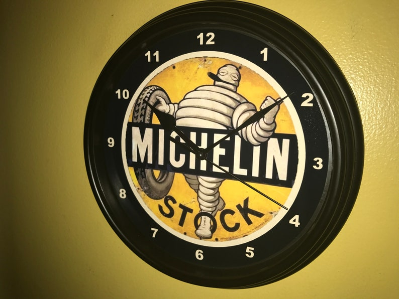 Michelin Stock Tires Gas Station Garage Retro Man Cave Advertising Wall  Clock Sign