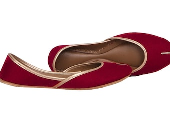 9aa89419f Handmade Red Women Flat Shoes Ballet Flats Red shoes Juti Ethnic Shoes  Bridal Shoes Mojari Indian Juttis