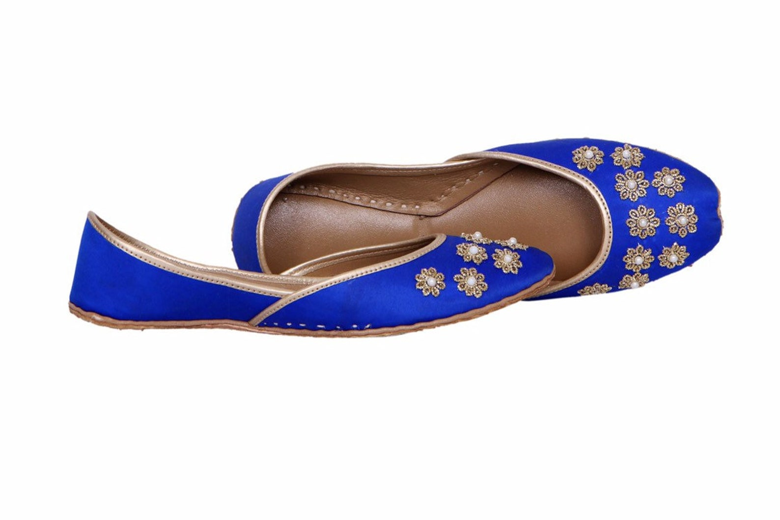 blue base embellished ballet flat shoes blue jutis blue slip ons mojari blue khussa