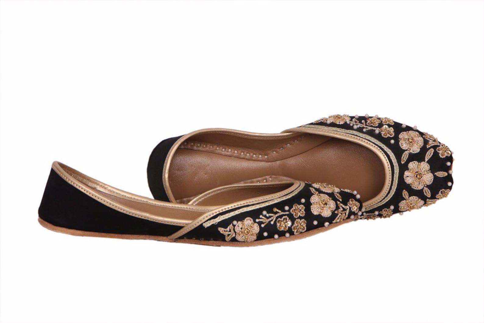 stunning black embellished ballet flat shoes black jutis black mojari black khussa