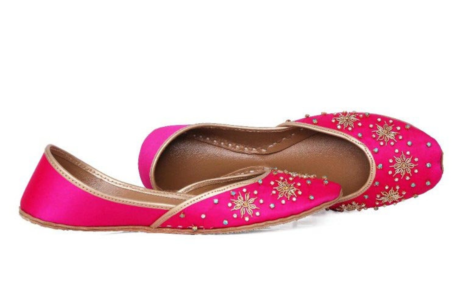 boho hand embroidered handmade pink ballet flat shoes pink slip ons