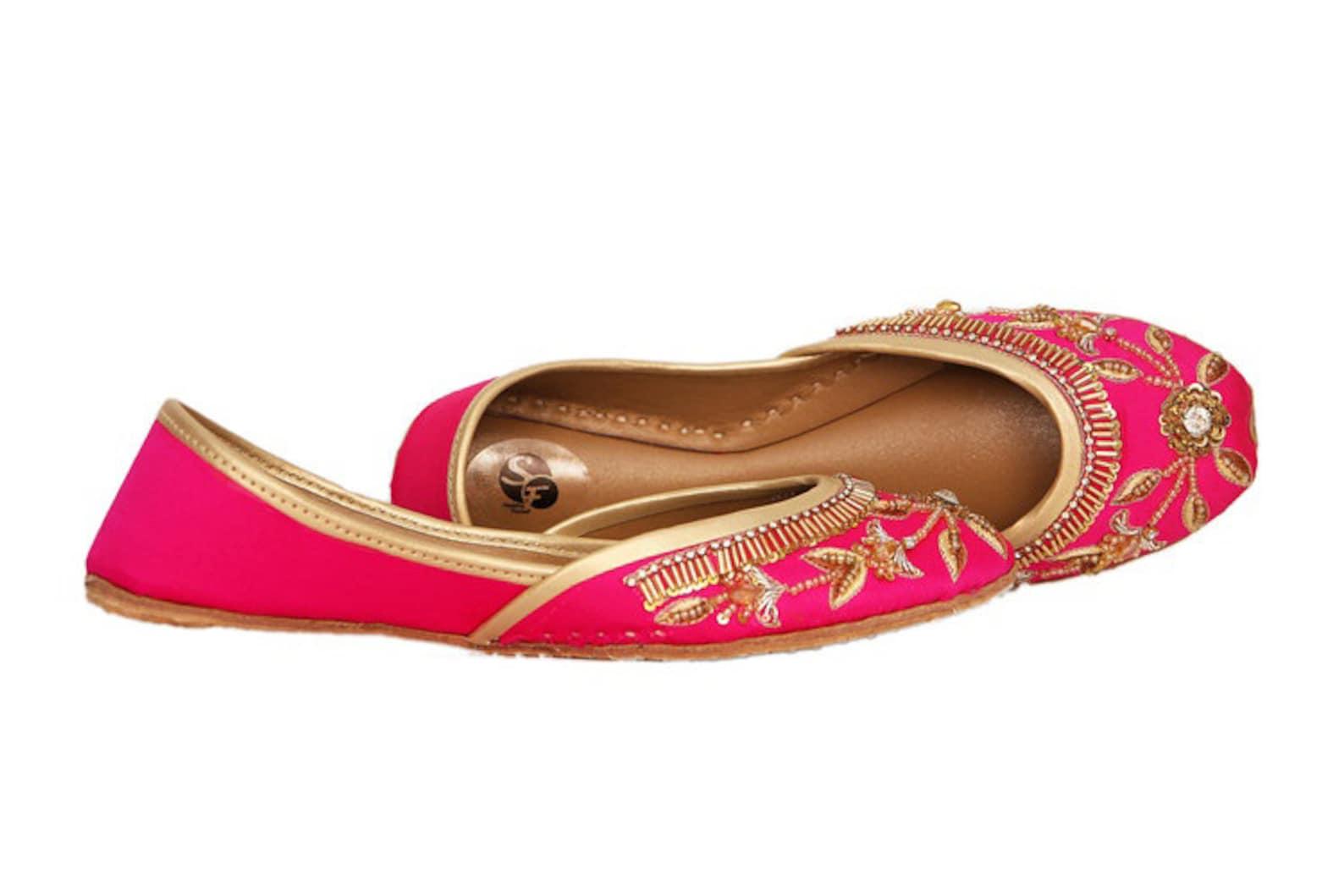 formal pink embellished ballet flat shoes pink jutis pink mojari pink khussa
