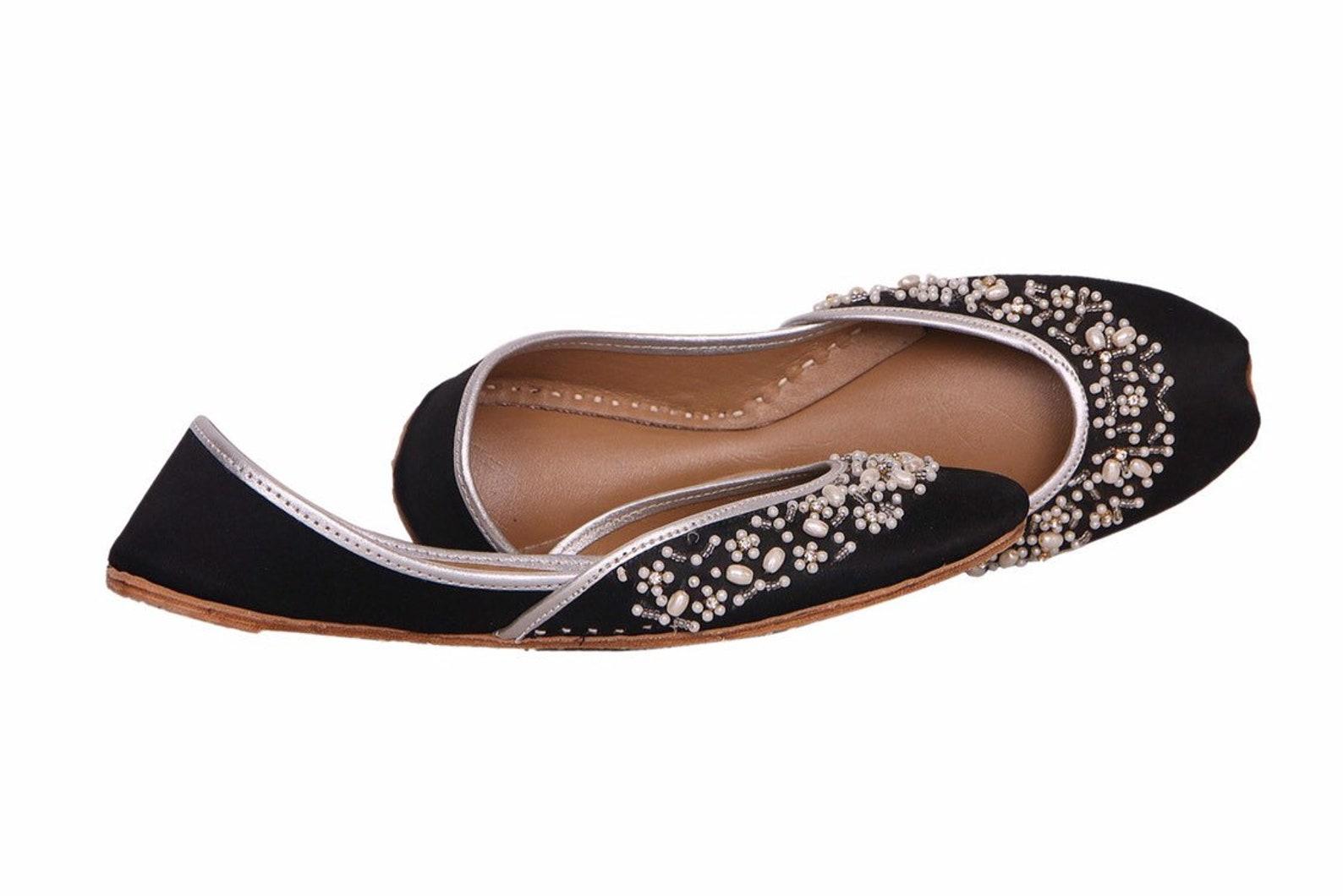 black base silver embellished ballet flat shoes black jutis black slip ons mojari black khussa