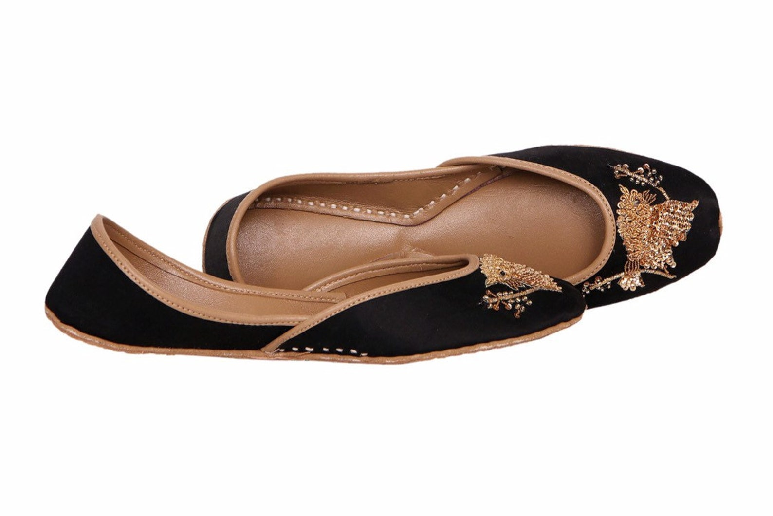 black base copper embellished ballet flat shoes black jutis black slip ons mojari black khussa
