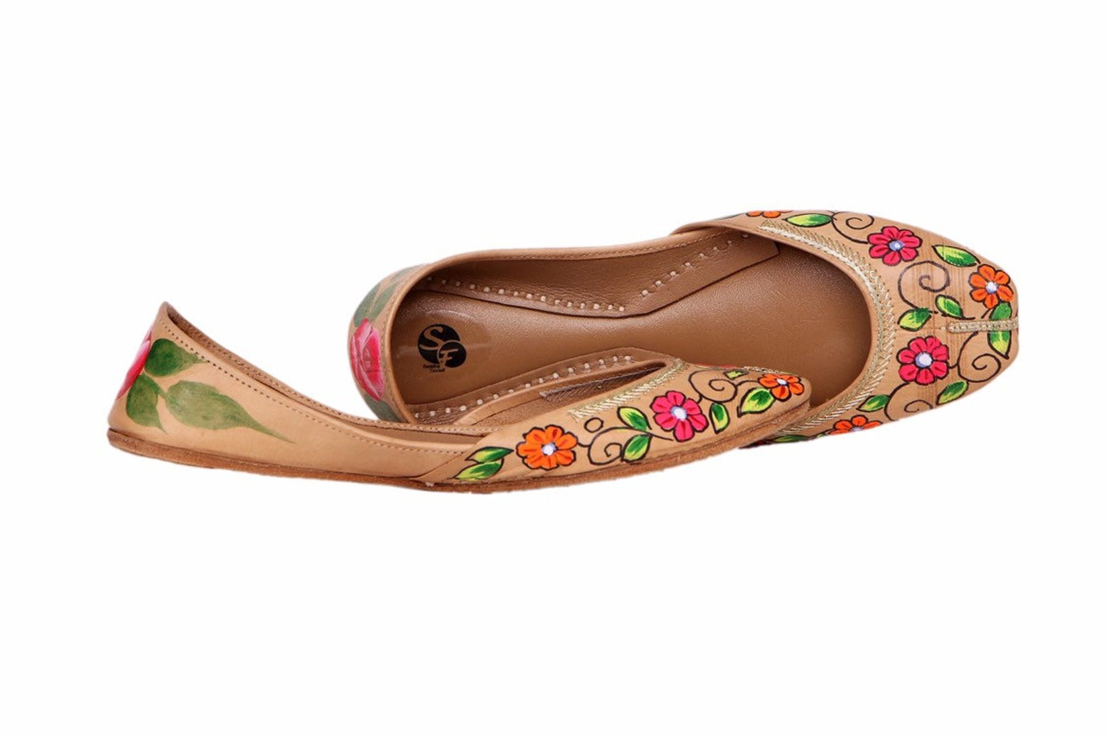 beige handpainted women flat shoes ballet flats handpainted khussa juti ethnic painted shoes handpainted mojari indian juttis