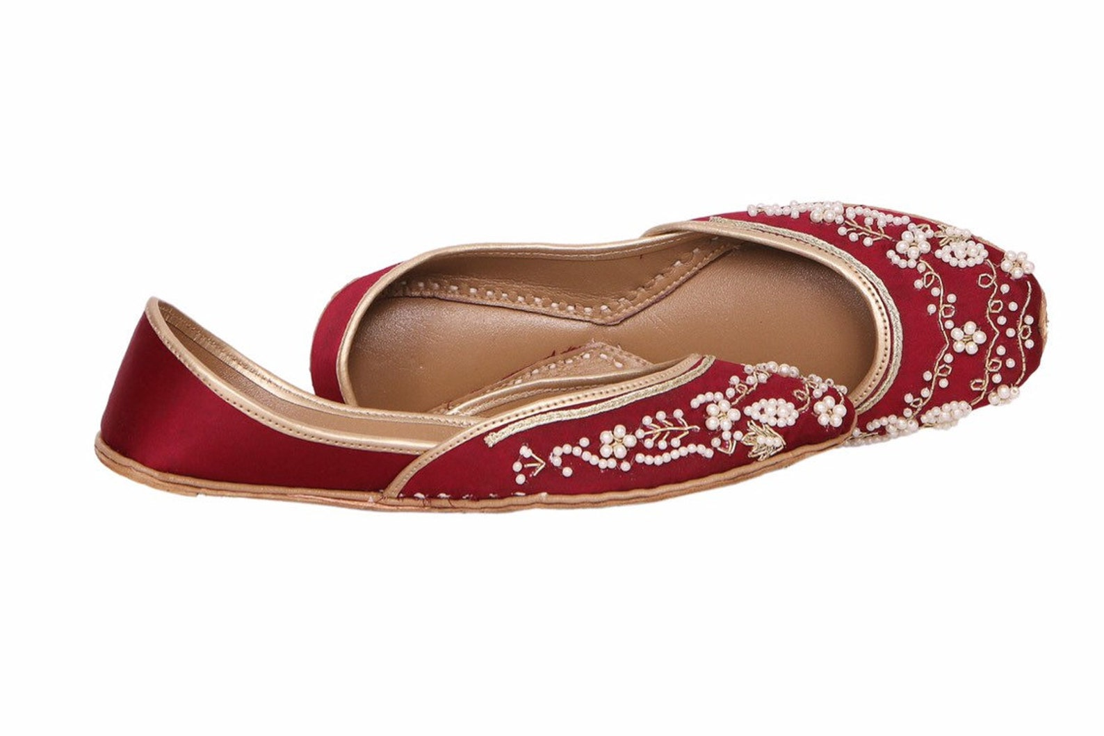 red base and pearl embellished ballet flat shoes red jutis red slip ons mojari red khussa