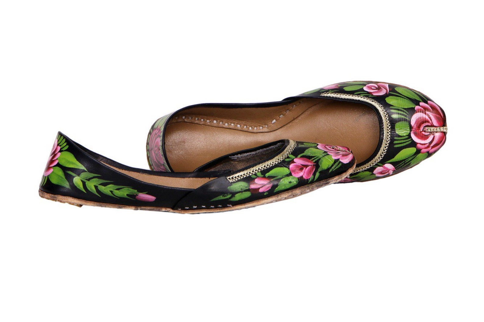 black handpainted women flat shoes ballet flats handpainted khussa juti ethnic painted shoes handpainted mojari indian juttis