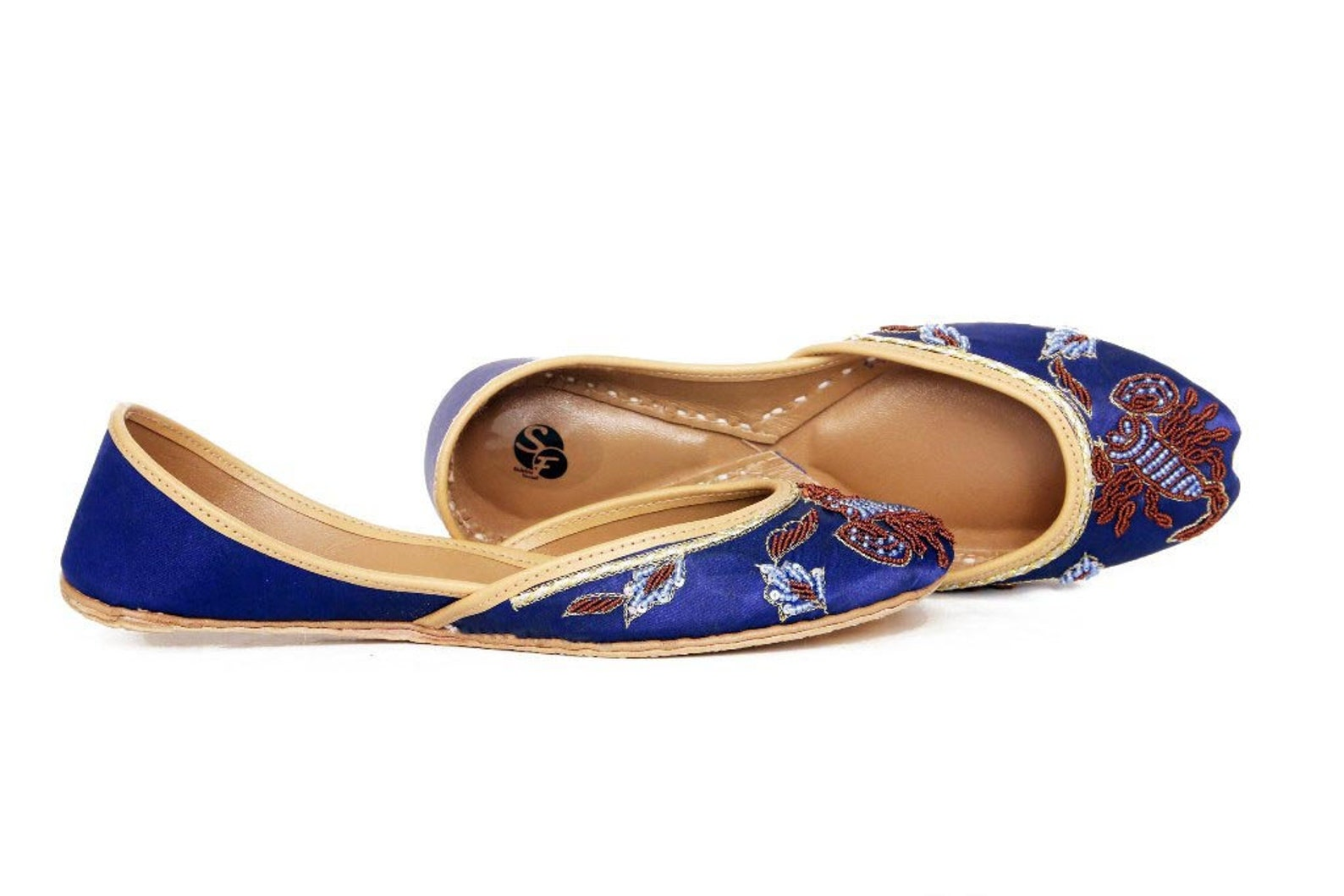 blue embellished ballet flat shoes blue juti blue khussa blue mojari indian blue mojari
