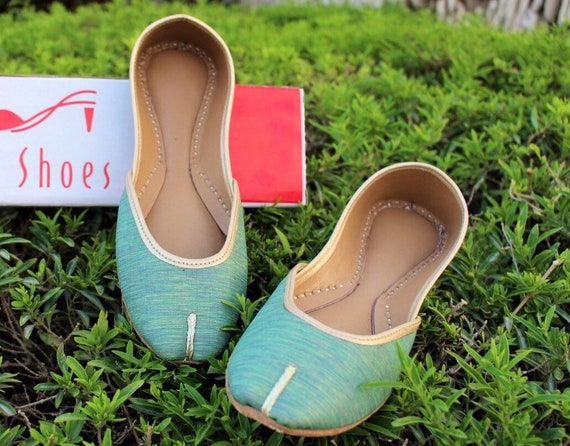 Handmade Blue Women Flat Shoes Ballet Flats Black shoes Juti Ethnic Shoes Bridal Shoes Mojari Indian Juttis