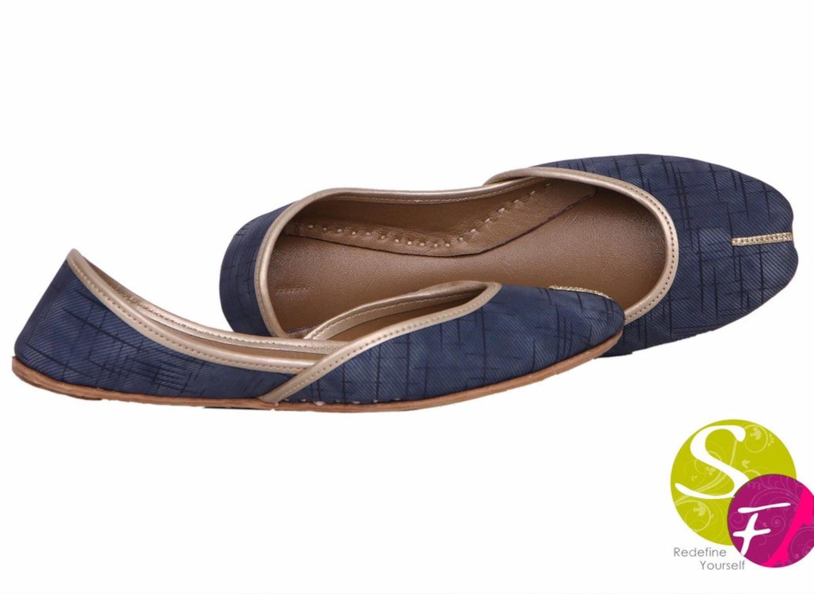 handmade blue women flat shoes ballet flats blue shoes juti ethnic shoes bridal shoes mojari indian juttis