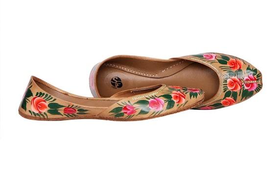 Doré peint à la main les les les femmes chaussures plates Ballet Flats peint à la main khoussa Juti ethnique peint chaussures broche peinte à la main Mojari Juttis indien | Large Sélection  498a27
