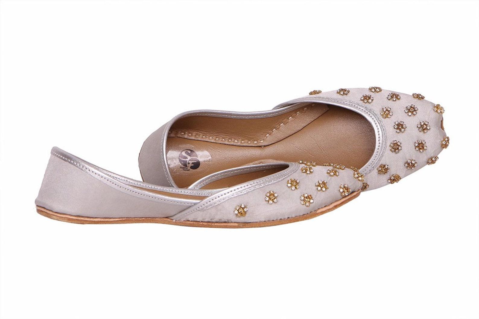 silver base gold embellished ballet flat shoes blue jutis silver slip ons mojari blue khussa
