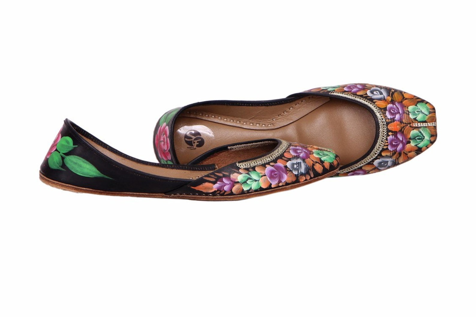 peacock black handpainted women flat shoes ballet flats handpainted khussa juti ethnic painted shoes brooch handpainted mojari i