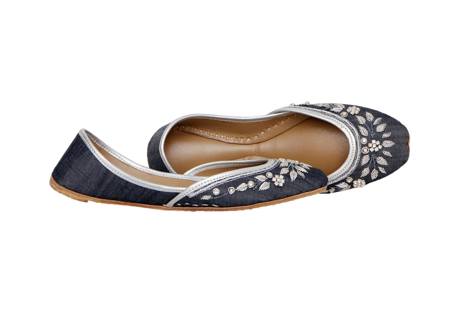 denim embellished ballet flat shoes blue jutis blue mojari blue khussa