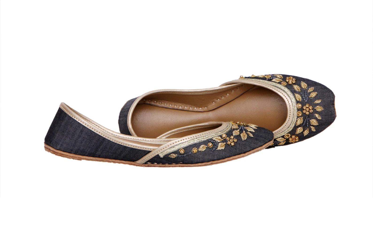 denim fabric embellished ballet flat shoes blue jutis blue mojari blue khussa