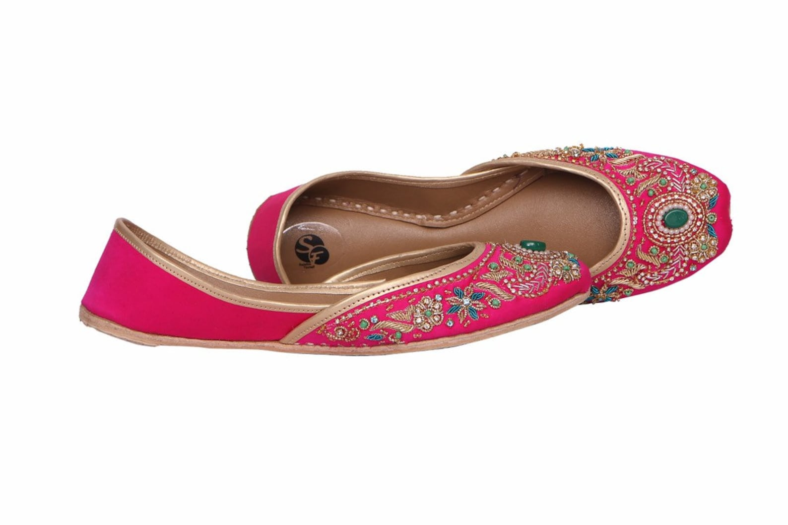 handmade embellished red/ pink women flat shoes ballet flats kundan khussa juti ethnic shoes brooch bridal shoes mojari indian j