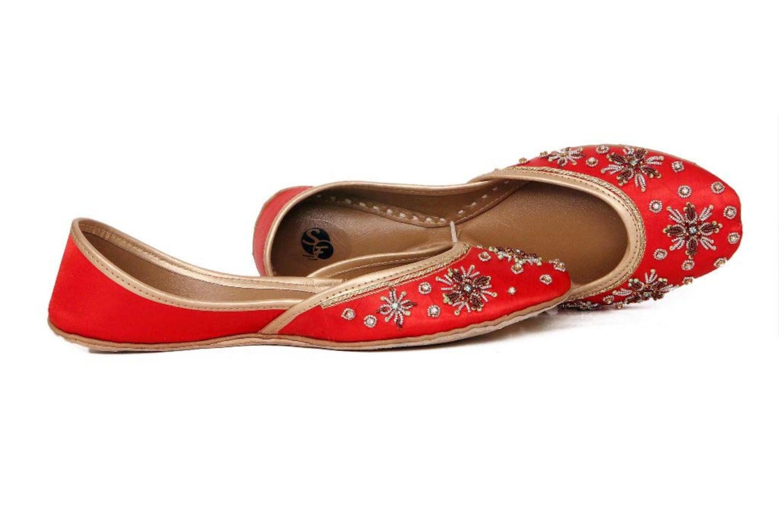 orange embellished ballet flat shoes orange jutis orange mojari orange khussa