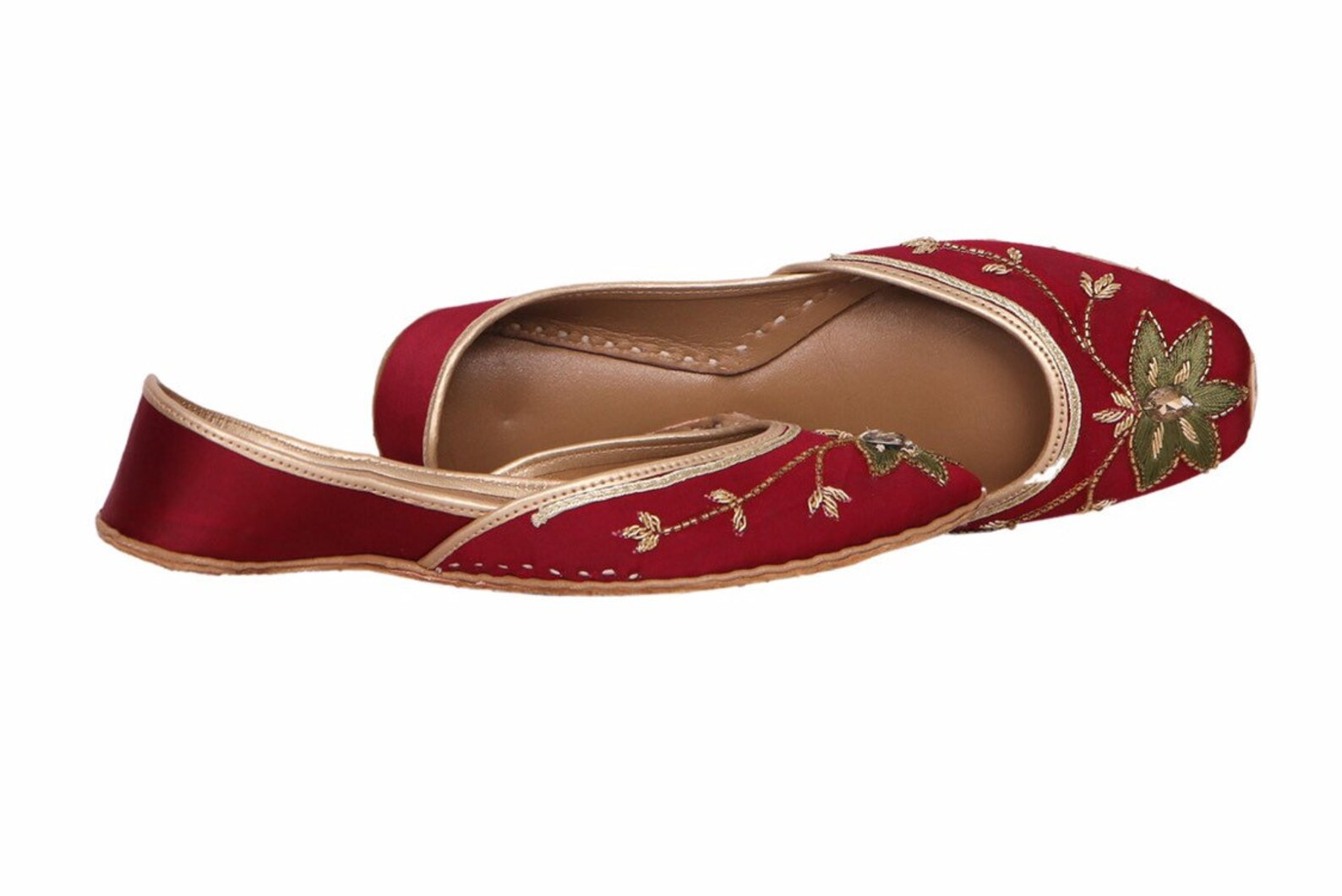 red base embellished ballet flat shoes red jutis red slip ons mojari red khussa