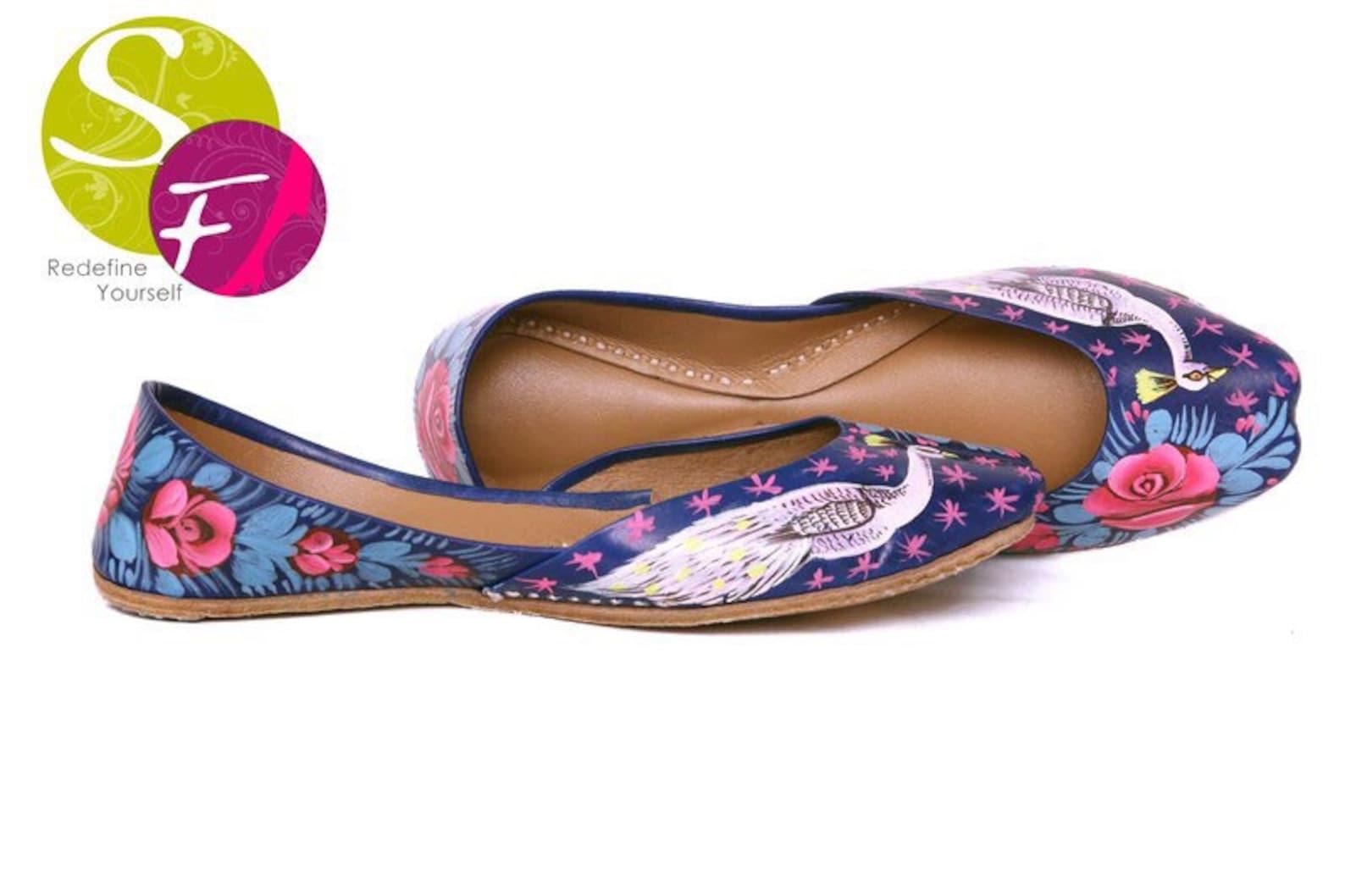 blue handpainted women flat shoes ballet flats handpainted khussa juti ethnic painted shoes handpainted mojari indian juttis