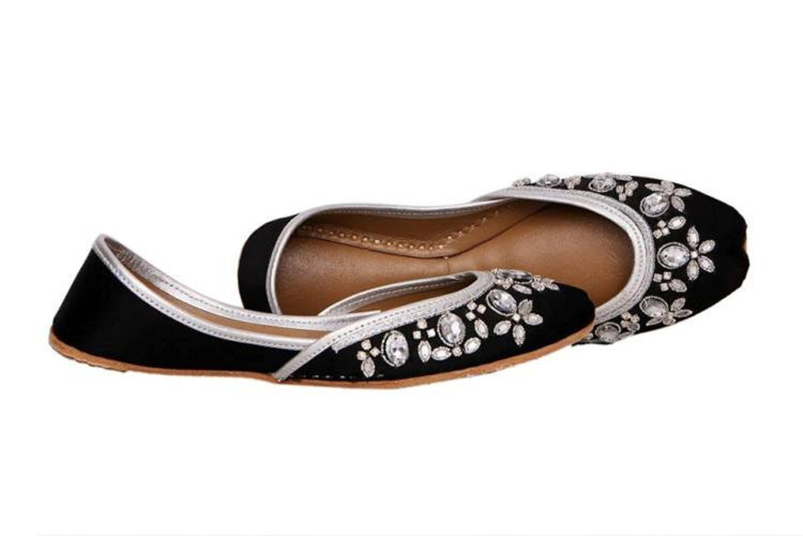 handmade embellished black women flat shoes ballet flats kundan khussa juti ethnic shoes brooch bridal shoes mojari indian jutti