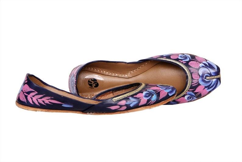 9f1d4a8e9281d Funky Black Handpainted Women Flat Shoes Ballet Flats Handpainted Khussa  Juti Ethnic Painted Shoes Handpainted Mojari Indian Juttis