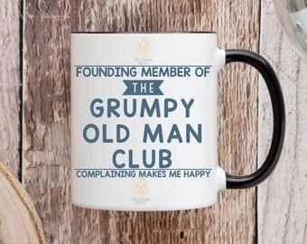 Founding member of the grumpy old man club - complaining makes me happy - 11oz Ceramic Mug -  Coloured Handle & Rim