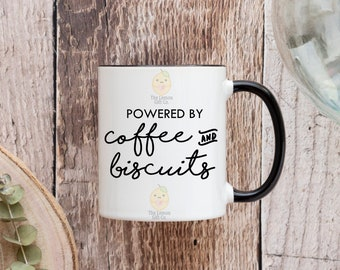 Powered by Coffee and Biscuits - 11oz Ceramic Mug -  Coloured Handle & Rim