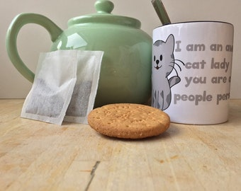 I am an awesome cat lady you are a crazy people person - 11oz Ceramic Mug -  Coloured Handle & Rim