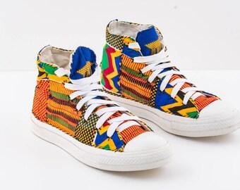 Size 44 EU. Repurposed Converse style shoes.