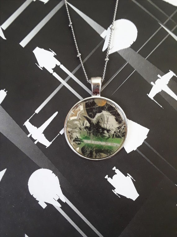 1 Yoda With Lightsaber Necklace Etsy
