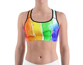 89c8d74901a8bc Rainbow Sports bra watercolor