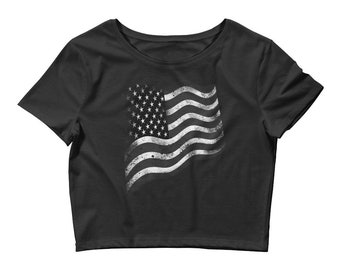 f4ef7bb5b848 4th of july crop top Vintage American flag crop top Women s Crop Tee US  Flag shirts shirt USA flag tshirt Fourth of july clothing t-shirt