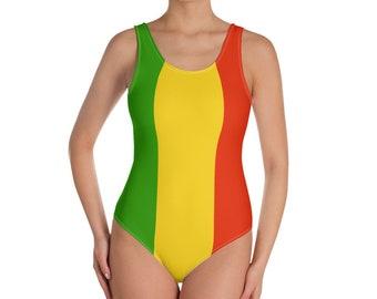 e4a1f8f5b7de4 Rasta One-Piece Swimsuit for Women, Rasta swimwear, Rastafarian, Jamaican  swimsuit, Rasta clothing, Rasta flag colors, Reggae