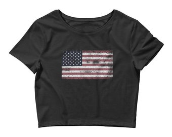 fa9fe18d4b322e American Flag Women s Crop Tee 4th of july Vintage Retro Style Print Flag  Crop Top USA Flag United States of America Flag Cropped T-Shirt