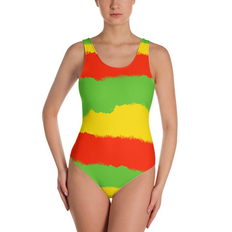 6c8fddaea7b7 Costume intero colori Rasta rasta costumi da bagno bandiera | Etsy