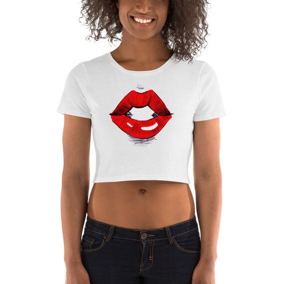 Red Lips Women/'s Crop Top