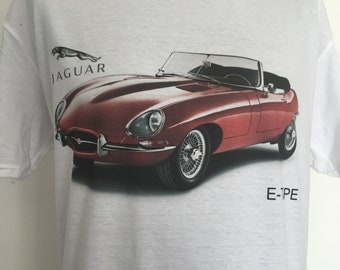 Jaguar E Type - red on white tshirt