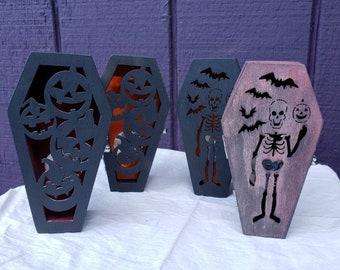 LED Lighted Mini Coffin - Handpainted - Wood - One of a kind - Trinket Box - Halloween Decor