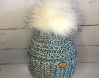 9a878f03ada6d4 Teal Wooly hat with a handmade extra fluffy white with black tips faux fur  pom pom