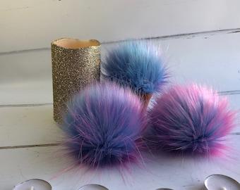 Unicorn coloured faux fur pom pom - pink, purple and turquoise. Detachable option