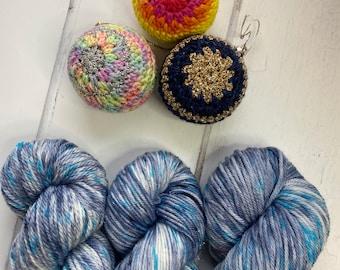 NEW: Snowflake Christmas Hand Dyed 100% Superwash Merino DK, Aran or Merino and Nylon DK Sparkle Yarn