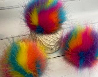 NEW - Circus handmade faux fur pom pom. Detachable option. Handmade