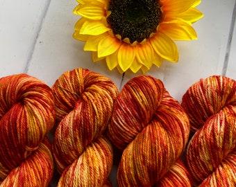 NEW: Flame Hand Dyed 100% Superwash Merino DK or Aran Yarn