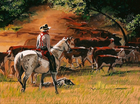 Fine Art Painting Cowboy And Cattle By Patricia Carroll